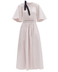 Shia shirred cotton-poplin dress