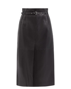 Belted leather A-line skirt