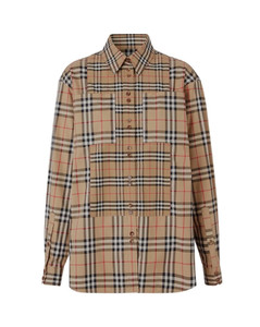 Contrast Check Stretch Shirt Archive Beige
