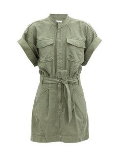Patch-pocket belted cotton shirt dress
