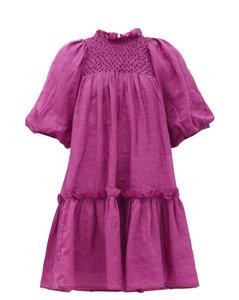 Geneva smocked cotton-voile trapeze dress