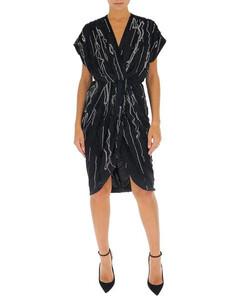 Brand-print sleeveless stretch-crepe mini dress