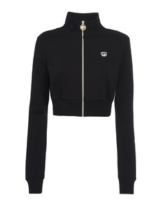 Contrast panel wool-blend knitted jumper