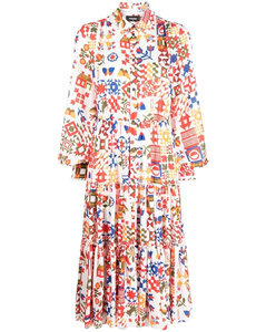 Zip-embellished pleated leather mini skirt