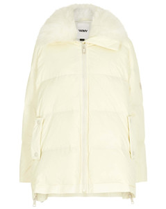 Army cream fur-trimmed quilted shell coat