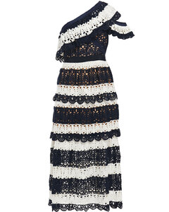 Woman One-shoulder Striped Crocheted Midi Dress