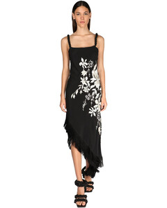 Floral Embroidery Silk Crepe Dress
