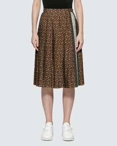 Monogram Stripe Print Crepe Pleated Skirt