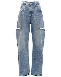 Cotton Denim Jeans W/ Cut Outs