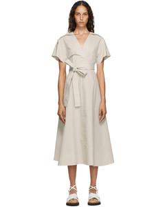 灰白色Crossover系带连衣裙