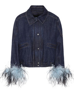 Feather-trimmed denim jacket