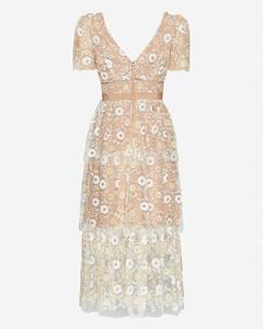 Sequin-embellished mesh midi dress