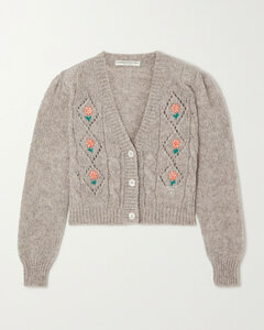 Floral-embroidered Knitted Cardigan