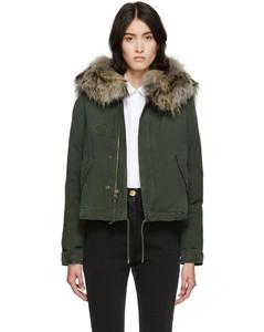 綠色Jazzy皮毛短款羽絨夾克