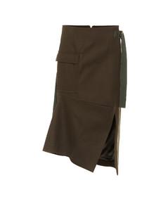 Wool twill midi skirt