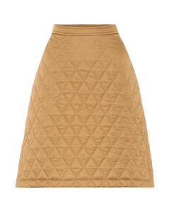 绗缝斜纹布高腰半身裙