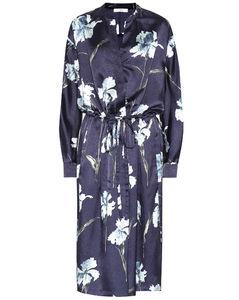 Iris花卉印花緞布連衣裙