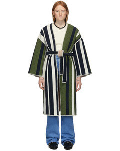 海军蓝&绿色条纹羊毛大衣