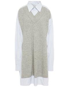 Woman Ribbed Wool-paneled Cotton-poplin Top