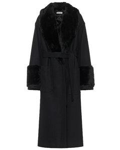 羊毛混纺系腰带大衣
