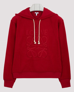 Red anagram embroidered hoodie
