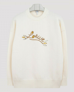 White wool sweater with logo