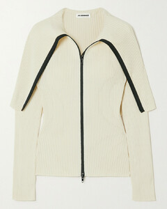 Cape-effect Ribbed Cotton Cardigan