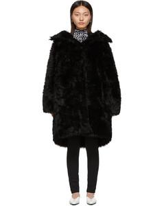黑色Swing人造毛大衣