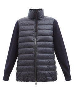 High-neck knit-sleeve padded down jacket