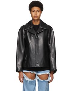 黑色合成皮革夹克