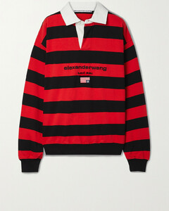 Twill-trimmed Embroidered Striped Cotton-jersey Top