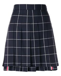 窗格纹百褶短裙