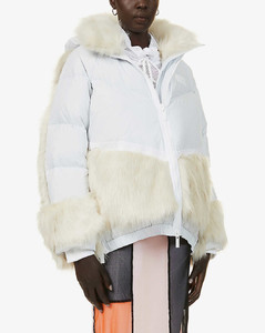 Padded hooded shell-down jacket