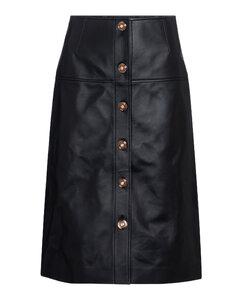 Anna皮革中长半身裙