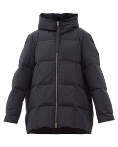 Longline down-filled & padded hooded coat