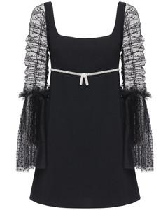 Dot Mesh & Crepe Mini Dress W/ Crystals