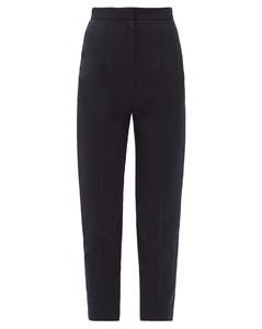 Cropped slim-leg wool grain de poudre trousers
