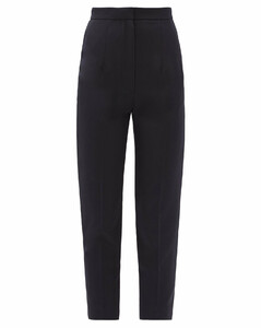 Cropped slim-leg wool grain de poudre trousers