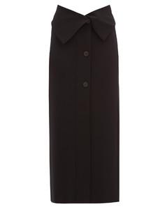 Folded-waist stretch-jersey midi skirt