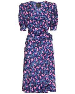 花卉真絲裹身連衣裙