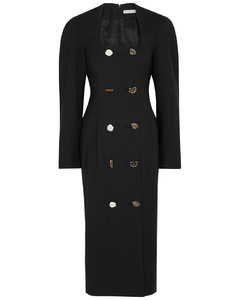 Camilla button-embellished wool-blend dress