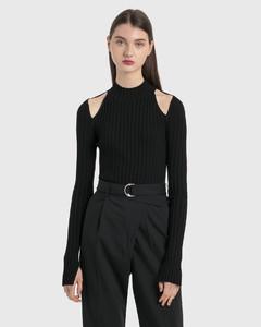 Stretch Viscose Cutout Pullover
