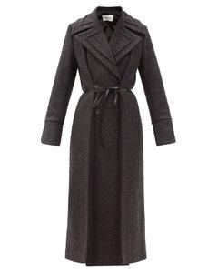 Double-breasted wool-blend herringbone coat