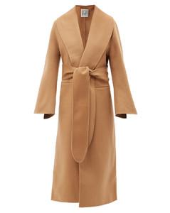 Flared-sleeve belted wool coat