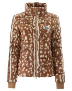 Beige Deer Print Puffer Jacket