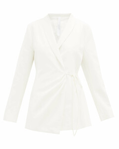 Vanda shawl-lapel cotton-twill wrap jacket