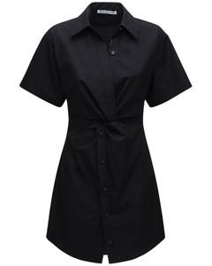 Cotton Poplin Mini Dress W/ Cutouts