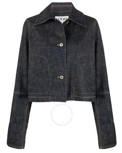 Cotton Indigo Cropped Denim Button Jacket, Brand Size 36