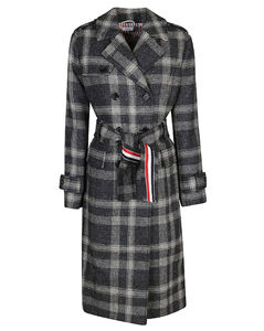Double Breasted Checked Belted Coat