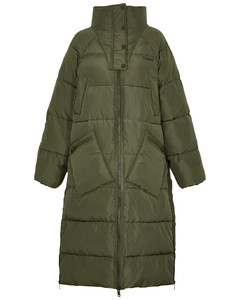 Army green quilted shell coat